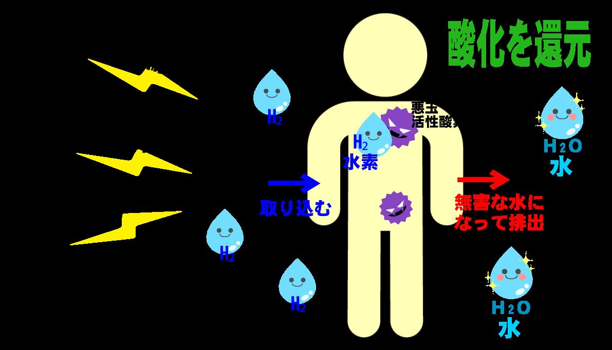 水素の効力!悪玉活性酸素の酸化を還元する水素の参考表。北海道から全国へ~水素の正規取次店「水素吸入サロンMove on」公式サイトより